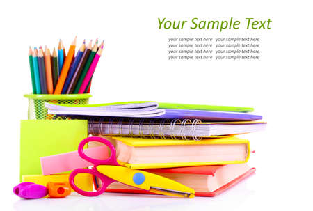 secondary school student: School supplies isolated on white Stock Photo