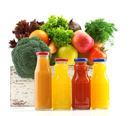 fruits juice: Glass bottles of fresh healthy juice with set of fruits and vegetables isolated on white background