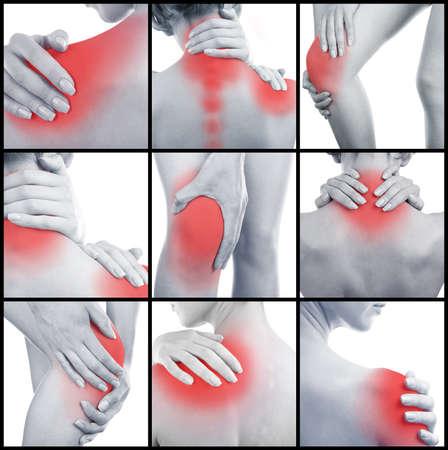de rodillas: Collage que representa la mujer que tiene dolor en varias partes del cuerpo