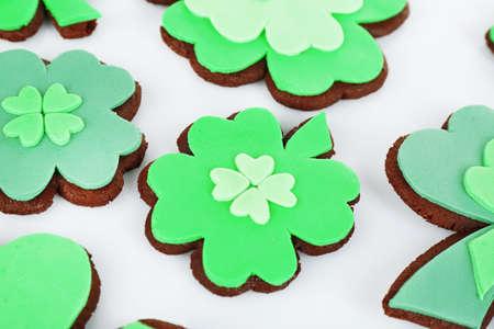 three leafed: Tasty cookies as shamrocks for Saint Patricks Day