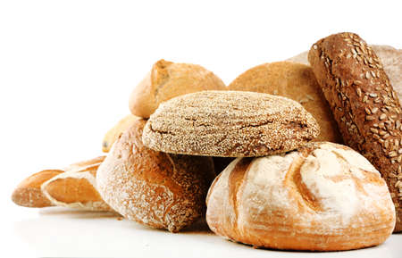 Different fresh bread, isolated on white Stockfoto