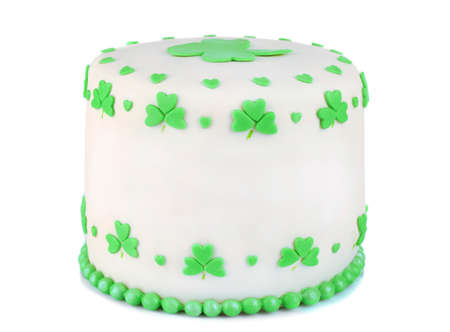 three leaved: Delicious cake for Saint Patricks Day isolated on white Stock Photo