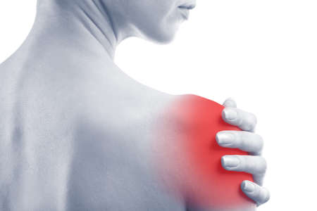 enhanced healthy: Young woman with shoulder pain, close-up Stock Photo