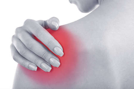 enhanced health: Young girl with shoulder pain close up