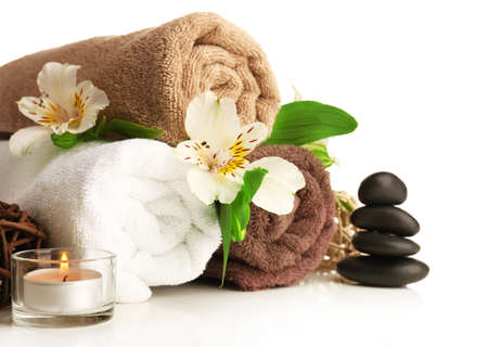 massage therapy: Spa still life isolated on white