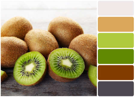 color color palette: Ripe kiwi on wooden table and palette of colors