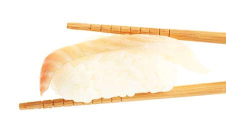 susi: Sushi with chopsticks isolated on white Stock Photo