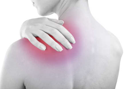 enhanced health: Young girl with back pain close up