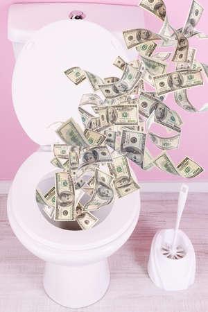 mucho dinero: Una gran cantidad de dinero se lava por el inodoro.