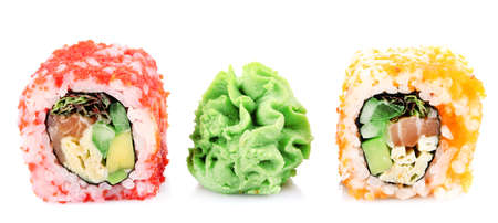 wasabi: Sushi rolls with wasabi isolated on white