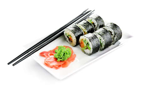 Vegetarian sushi rolls isolated on white Imagens