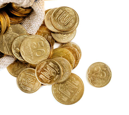 pile of coins: Gold coins isolated on white
