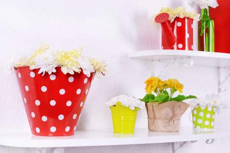 pot light: Flower on shelves on white wall background Stock Photo