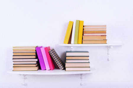 business book: Books on shelves on white wall background