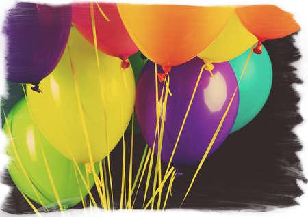 flotation: Colorful balloons isolated on black Stock Photo