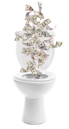 mucho dinero: Una gran cantidad de dinero se tiran por el inodoro, aislado en blanco