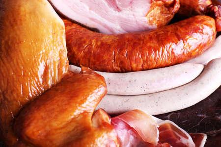 carnes: Surtido de embutidos, vista macro Foto de archivo