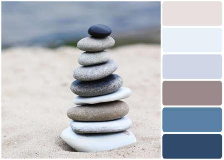 Zen Spa solde des pierres sur la plage et palette de couleurs