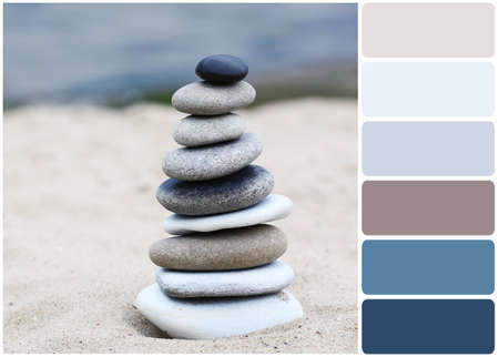 stones in water: Zen stones balance spa on beach and palette of colors