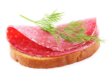 dill: Sandwich with salami and dill isolated on white