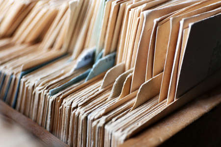 drawers: Catalog cards in library, closeup Stock Photo
