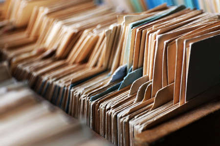 Catalog cards in library, closeup Stock Photo