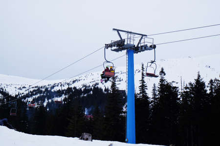 wintertime: Cableway over mountains in wintertime