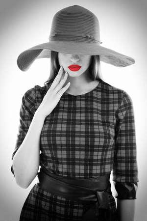 Retro Woman Portrait. Stock Photo