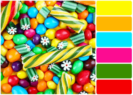 bright colors: Bright candies and palette of colors Stock Photo