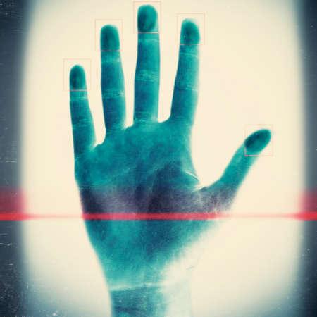 fingerprints: Scanning fingerprints on light background Stock Photo