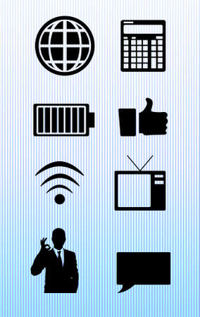 communication icons: Communication icons on blue background Stock Photo