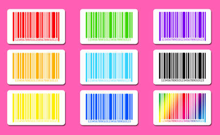 bar codes: Bright bar codes on pink background. Vector image Stock Photo