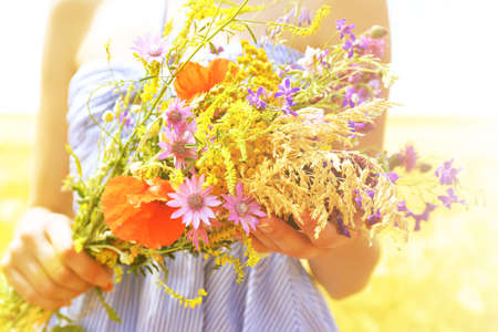 flowers sun: Woman holding beautiful bouquet of wildflowers outdoors Stock Photo