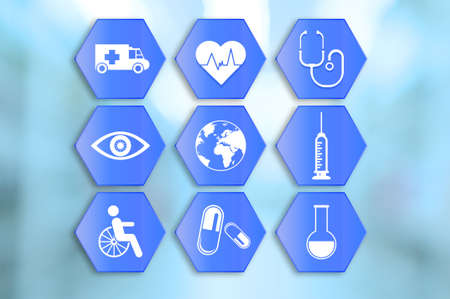 medical abstract: Medical icons set on abstract blue background Stock Photo