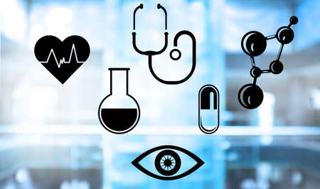 medical abstract: Medical icons set on abstract background