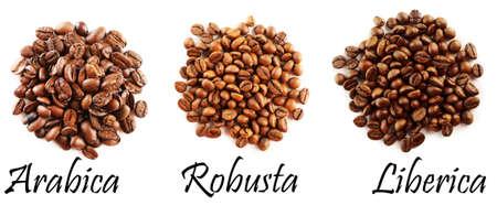 Verschillende koffiebonen op wit wordt geïsoleerd