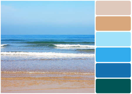 color palette: Beach with beautiful sea and palette of colors