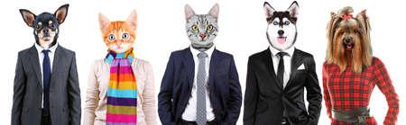 cabeza: Serie de personas con animales de la cabeza