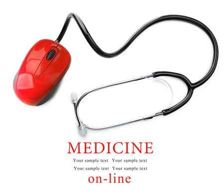red stethoscope: Stethoscope with computer mouse isolated on white. Medical online concept Stock Photo