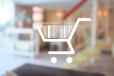 red retail: Shopping basket with bar code, on abstract background, vector image