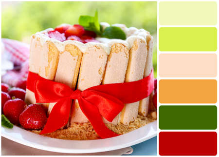 color palette: Tasty cake Charlotte with fresh strawberries on green nature background and palette of colors