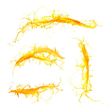 Sinaasappelsap spatten op wit wordt geïsoleerd Stockfoto