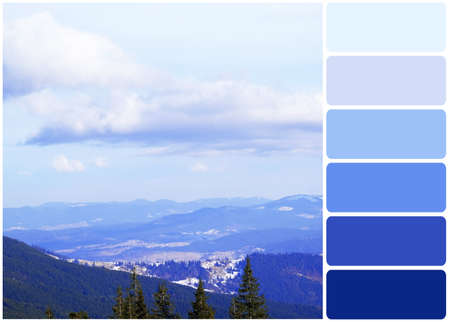 colours tints: Beautiful view of Carpathian Mountains in wintertime and palette of colors Stock Photo