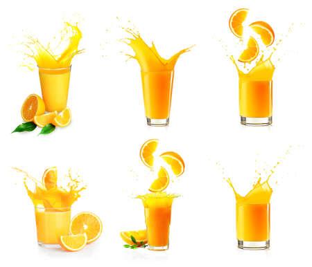 verre de jus d orange: Collage de projections de jus d'orange isol� sur blanc