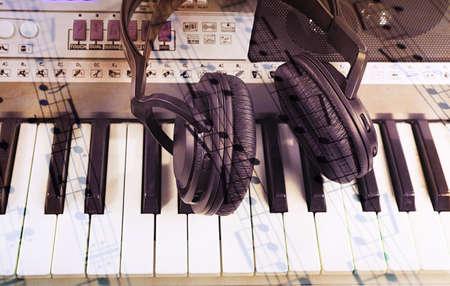 synthesizer: Headphones on synthesizer close up