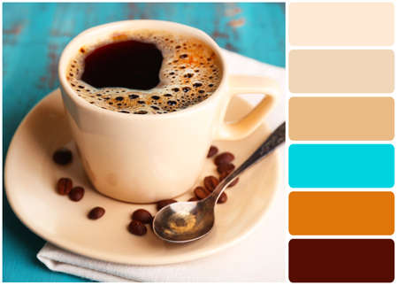 color palette: Cup of coffee on color wooden background and palette of colors Stock Photo