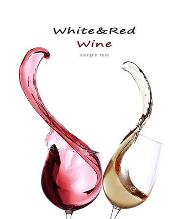 viscosity: Splashes of wine isolated on white Stock Photo