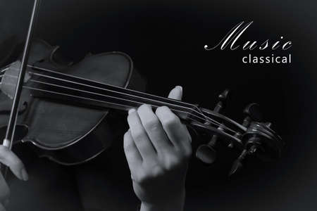 violinist: Violinist playing violin. Black and white photo Stock Photo