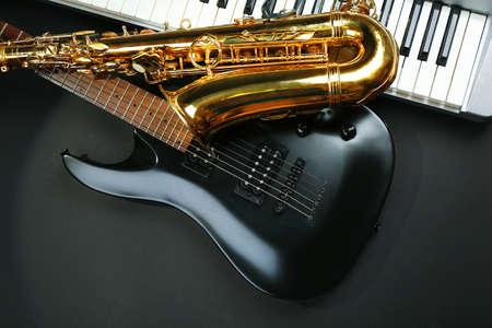 Musical instruments on dark background 스톡 콘텐츠