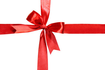 valentine border: Shiny red ribbon with bow isolated on white